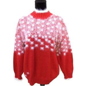 Vintage 70's Ceau Mar Red Christmas Wool Sweater
